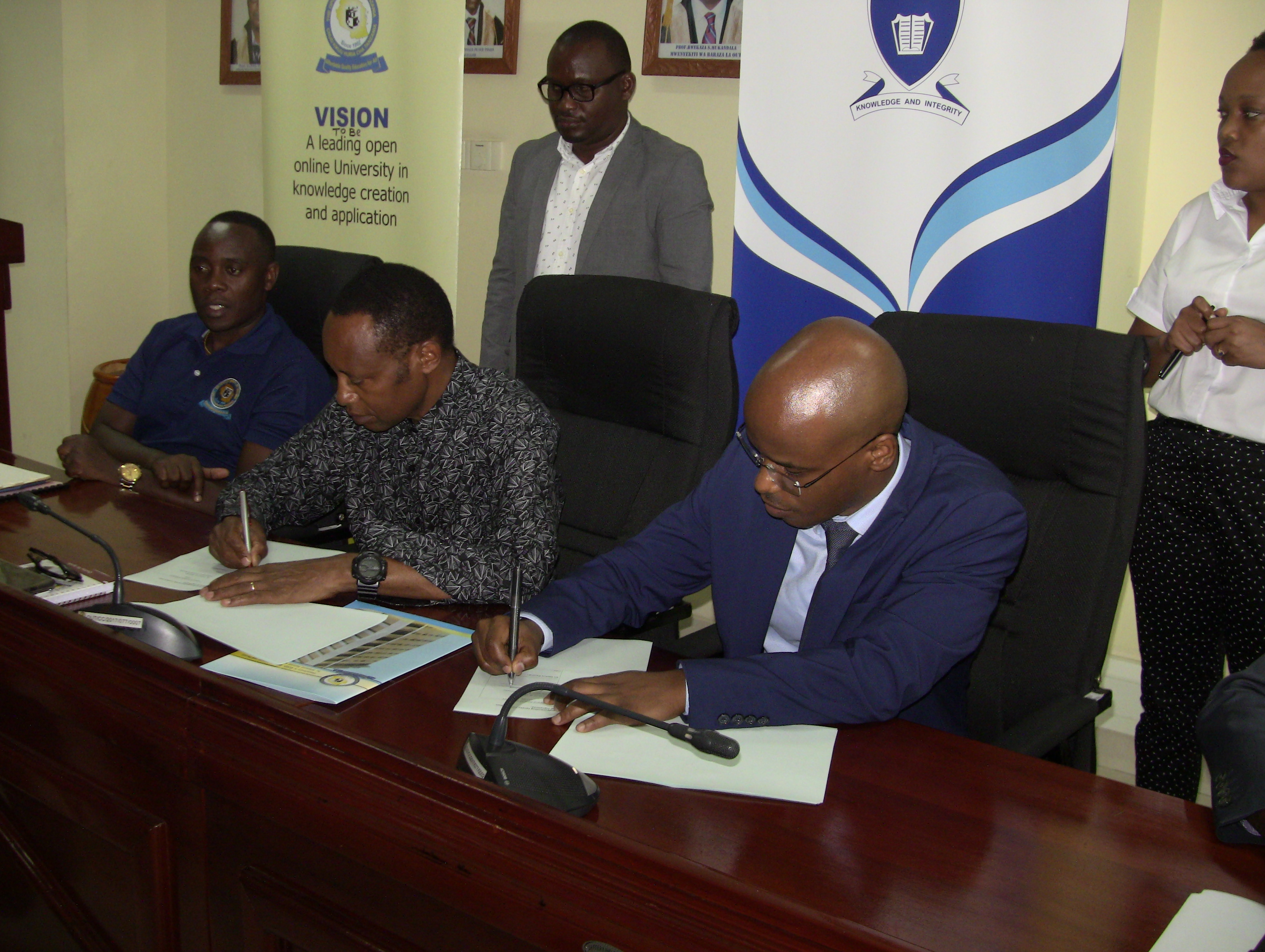 SIGNING OF MoU BETWEEN OPEN UNIVERSITY OF TANZANIA AND TANZANIA INSTITUTE OF BANKERS