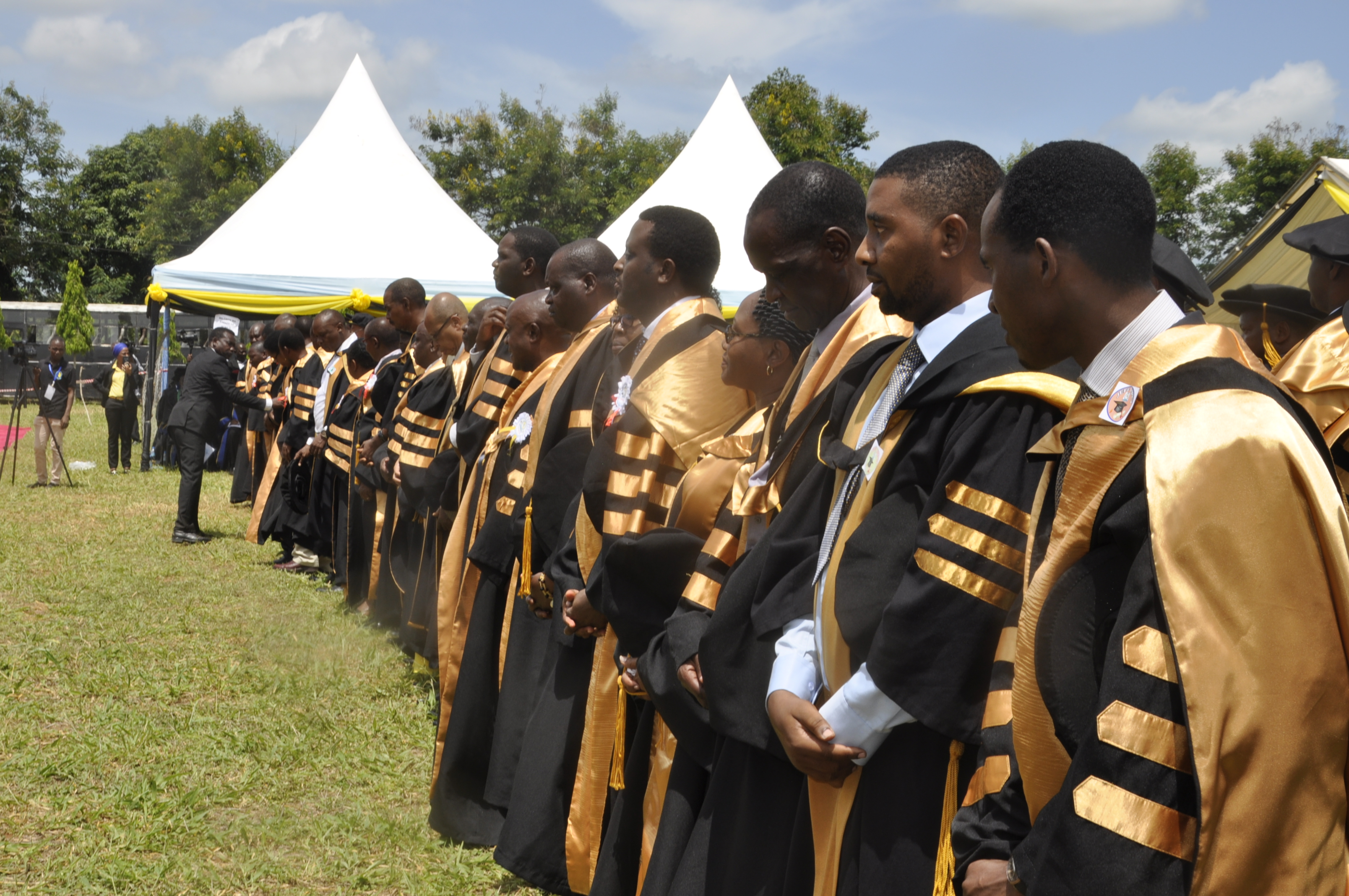 PhD Graduates in a moment before conferred during the 37th Graduation Ceremony of the Open University of Tanzania held on 28th November 2019 in Bungo, Kibaha.
