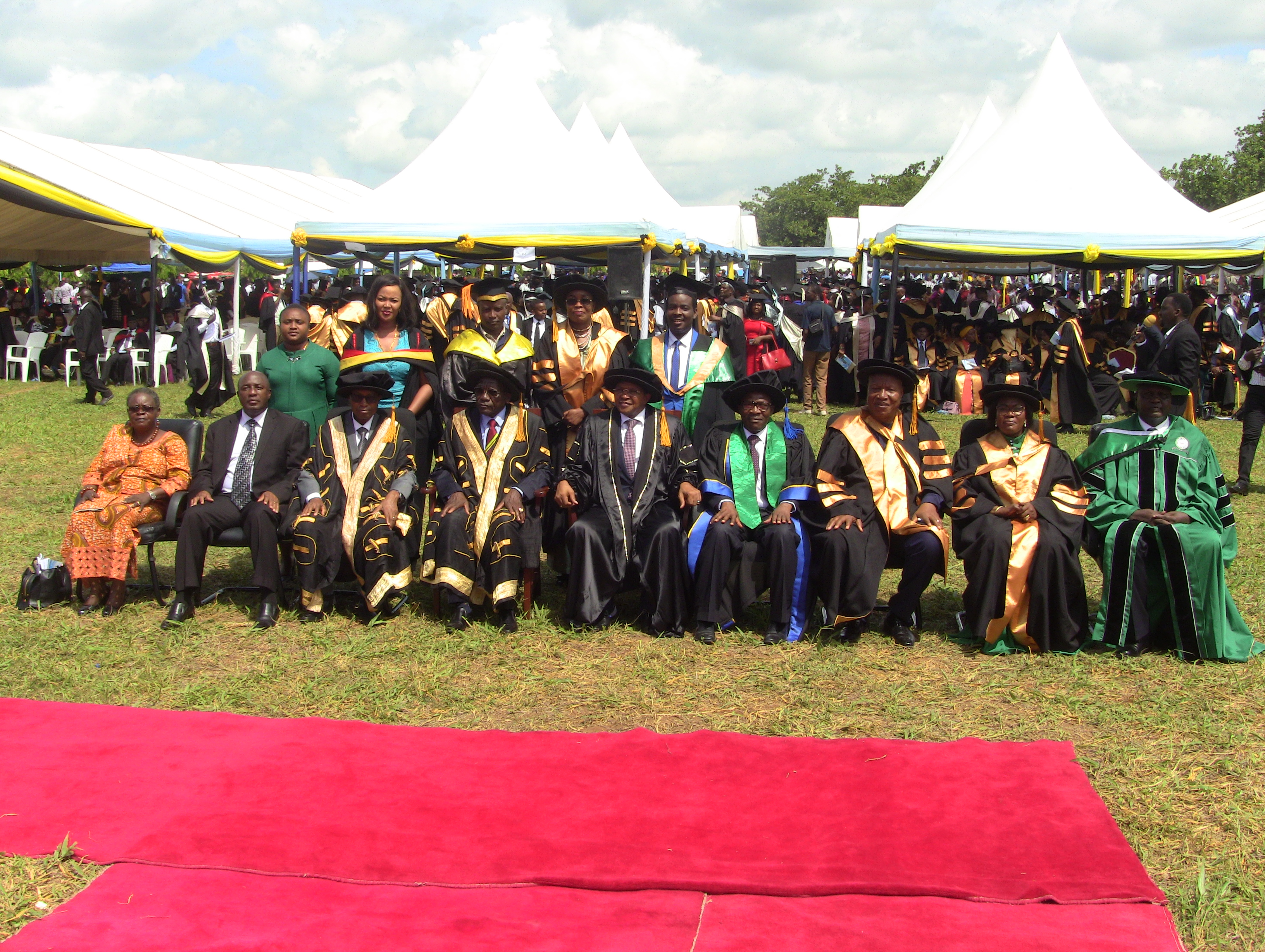 Group photo; Guest of honor former President of the United Republic of Tanzania Hon. Dr. JakayaKikwete (at the center) with the Open University of Tanzania(OUT) Management as well as MPs and Governmentleaders  graduated at the 37th graduation ceremony held on 28th  September 2019 at Bungo, Kibaha