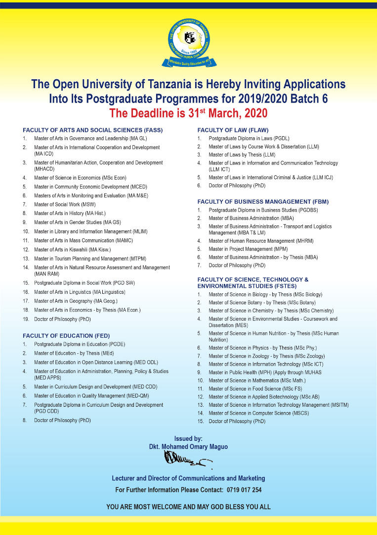 Inviting Applications into Its Postgraduate Programmes for 2019/2020
