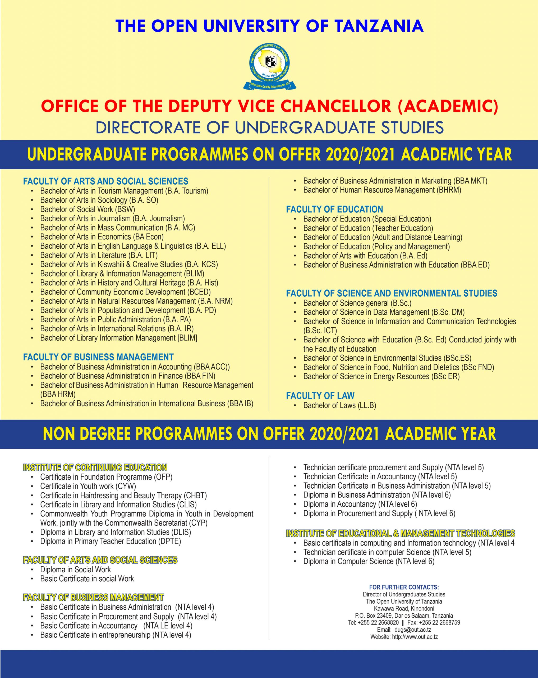 Programs Offered by OUT